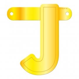 Banner letter J geel