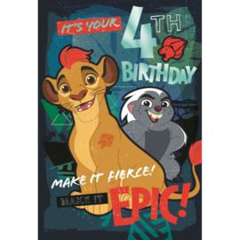 Disney The Lion Guard verjaardagskaart 4 jaar