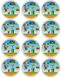 Super Mario Bros cupcake frosting  ø 5 cm. 12 st.