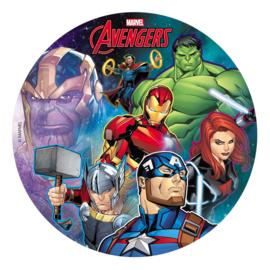 Marvel Avengers eetbare taart decoratie ø 20 cm.