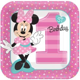 Disney Minnie Mouse 1e verjaardag bordjes 22,9 cm. 8 st.