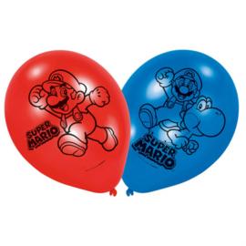 Super Mario Bros ballonnen ø 22,8 cm. 6 st.