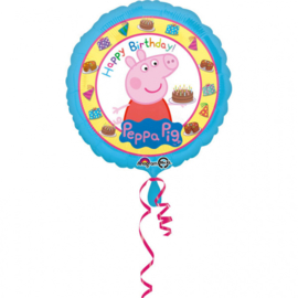 Peppa Pig happy birthday folieballon ø 43 cm.