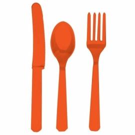 Oranje wegwerp bestekset 24-delig