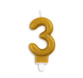 Taart kaars 3 jaar goud glitter 7 cm.