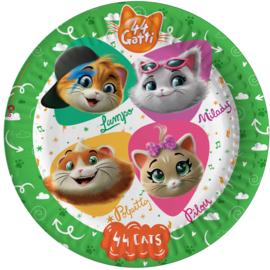 44 Cats bordjes party ø 23 cm. 8 st.