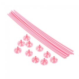 Ballonstokje roze inclusief houder 10 st.