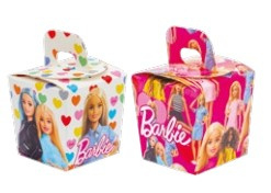 Barbie traktatie doosjes klein 7 x 7 x 8 cm. 6 st.