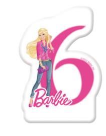 Barbie taart kaars 6 jaar 6 cm.