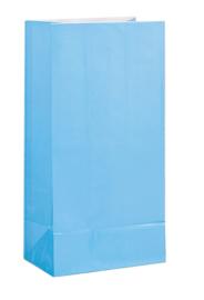 Papieren traktatie zakjes licht blauw 12 st.