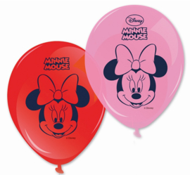 Disney Minnie Mouse rode en roze ballonnen ø 28 cm. 8 st.
