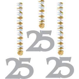 Hangdecoratie zilver 25 jaar 3 st.