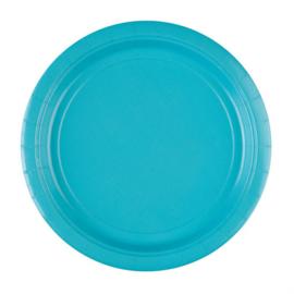 Turquoise wegwerp bordjes ø 22,9 cm. 8 st.