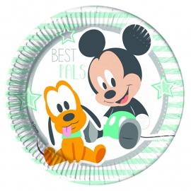 Disney Baby Mickey Mouse en Pluto bordjes ø 23 cm. 8 st.