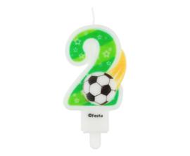 Voetbal taart kaars 2 jaar 8 cm.