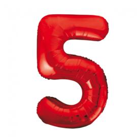 Folieballon cijfer 5 rood 86 cm.