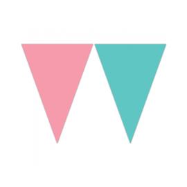Vlaggenlijn roze - groen (pastel) 2,3 mtr.