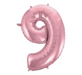 Folieballon cijfer 9 roze 92 cm.