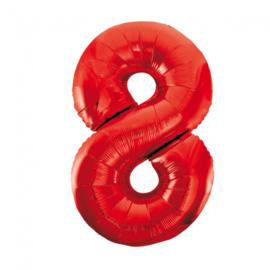 Folieballon cijfer 8 rood 86 cm.