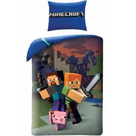 Minecraft dekbedovertrek 140 x 200 cm.