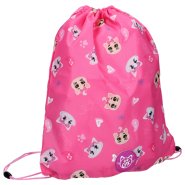 44 Cats gym- zwemtas Pawesome pink 44 x 37 cm.