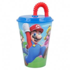 Super Mario Bros drinkbeker met rietje 430 ml.