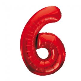 Folieballon cijfer 6 rood 86 cm.