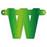 Banner letter W lime groen