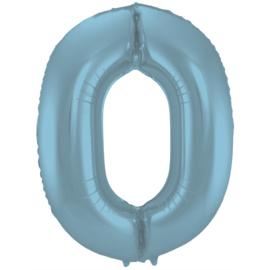 Folieballon cijfer 0 pastel blauw 86 cm.