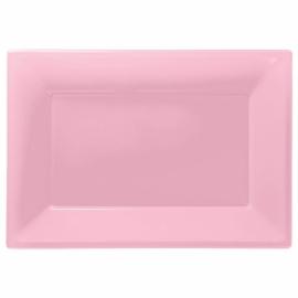 Roze wegwerp serveerschalen set 32 x 23 cm. 3 st.