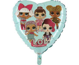 LOL Surprise hart folieballon licht blauw 45 cm.