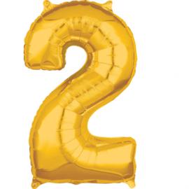 Folieballon cijfer 2 goud 43 x 66 cm. (Amscan)