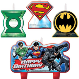 Justice League taart kaarsjes set 4-delig