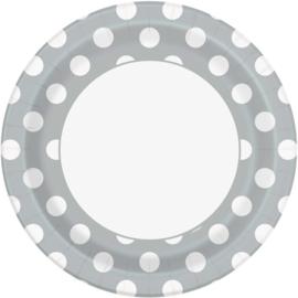 Zilver met witte stippen bordjes ø 21,9 cm. 8 st.