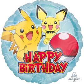 Pokémon happy birthday folieballon ø 43 cm.
