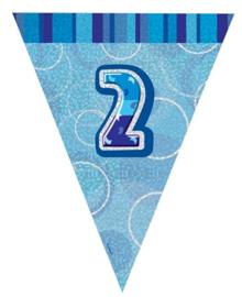 Vlaggenlijn blue glitter 2 jaar 2,74 mtr.