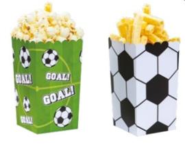 Voetbal popcorn bakjes 7 x 7 x 14 cm. 6 st.