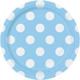 Licht blauwe gebakbordjes met witte stippen ø 17 cm. 8 st.