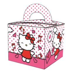 Hello Kitty traktatie doosje 6,5 x 6,5 x 6,5 cm. 8 st.