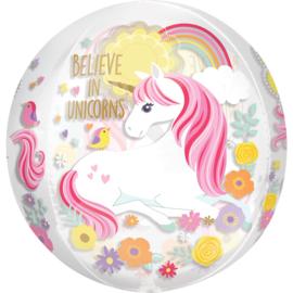 Magical Unicorn Orbz See-Thru ballon 38 x 40 cm.