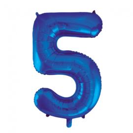 Folieballon cijfer 5 blauw 86 cm.