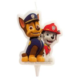 Paw Patrol Chase & Marshall 2D verjaardag taart kaars 7,5 cm.