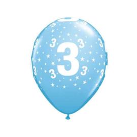 Leeftijd ballonnen 3 jaar licht blauw ø 28 cm. 6 st.