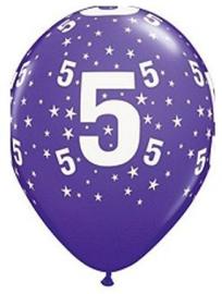 Leeftijd ballonnen stars paars 5 jaar ø 28 cm. 6 st.