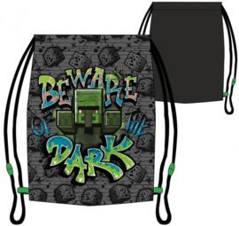 Minecraft gym- zwemtas Beware Dark 32 x 36 cm.