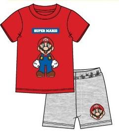 Super Mario Bros shortama grijs - rood mt. 104
