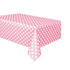 Roze met witte stippen tafelkleed 1,37 x 2,74 mtr.