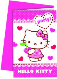 Hello Kitty verjaardag uitnodigingen 6 st.