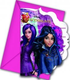 Disney Descendants verjaardag uitnodigingen 6 st.