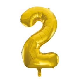 Folieballon cijfer 2 goud 86 cm.